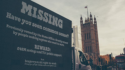Missing message on side of a truck