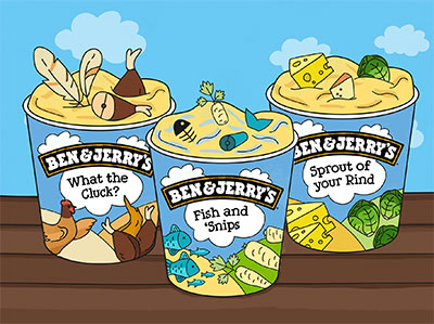 Pints of Ben & Jerry's with funny sayings