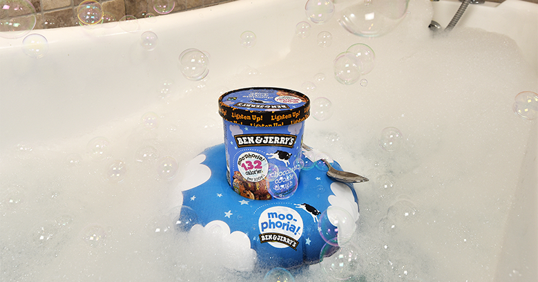 Ben & Jerry's Moophoria Pint in Tub on a floaty