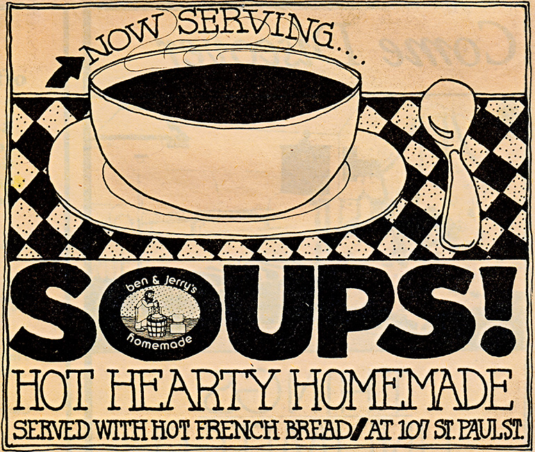 Sign for Ben & Jerry's soups
