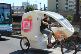 Deliver and collect cardboards on tricycle bike